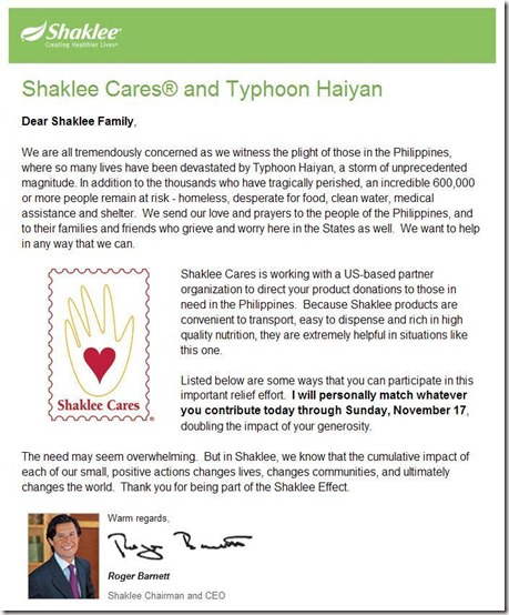 Shaklee Cares Phillipines